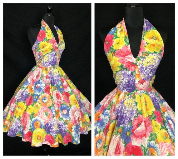 GORGEOUS Vintage 1950's Style Multicolor Floral Co