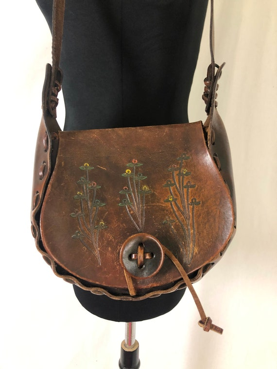 70s Gypsy Biker Tan Leather Braided Strap Purse 60s70s Hand Painted Floral Leather Purse 70s Boho Painted Hand Tooled Leather Bag
