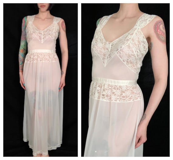 Vintage 1940's White Nylon and Lace Slip Dress / N