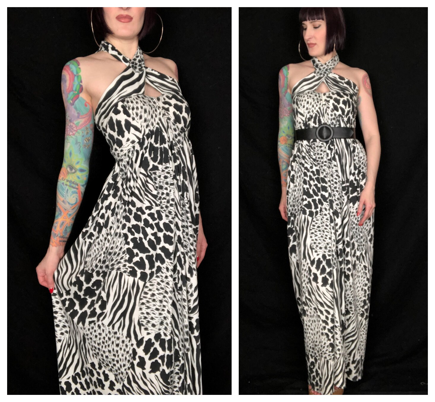 80s Dresses | Casual to Party Dresses Vintage 1980s Black  White Abstract Animal Print Criss Cross Halter Top Maxi Dress By Victor Costa At Home - Size Small Xs $37.00 AT vintagedancer.com