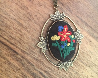 RTS - Floral Pendant - hand embroidered necklace, whimsical, flowers, garden, bouquet