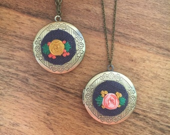 RTS - Rose LOCKET Pendant - hand embroidered necklace, floral, whimsical, locket, delicate
