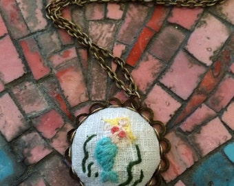 Mermaid - hand embroidered necklace, mermaid, ocean, fantasy, shell, needlework
