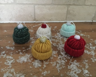 Knit Hat Ornament, Christmas, Holidays, winter, snow, gift wrap