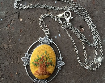 Oak Tree - hand embroidered necklace, tree, fall, leaves, forest, woods, needlework