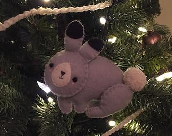 Felt Bunny Ornament, woodland creature, nursery, decoration, christmas, holidays