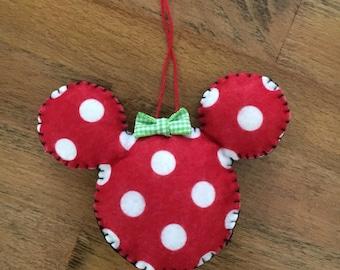 Felt Minnie inspired ornament, Christmas, Holidays, decoration