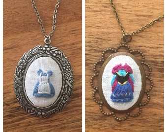 RTS - Storybook Dress Pendant - hand embroidered necklace, alice in wonderland, princess anna, frozen, curiouser and curioser