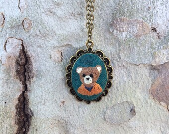 Teddy Bear - hand embroidered necklace, bear, woodland, animal, needlework