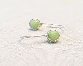 Modern Agate Drop Earrings - Simple Minimalist Bright Green Agate Round Drops Sterling Silver Wire Wrapped Artisan Earrings Gift for Her