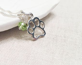 Sterling Silver Paw Print Necklace - 925 Sterling Silver Charm Pet Parent Dog Mom Cat Mom Gift for Pet or Animal Lover Birthstone Charm