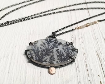 Dendritic Agate and Blackened Silver Necklace with Solid 18k Gold Accent - Prong Set OOAK Black and White Gemstone Pendant and Silverite