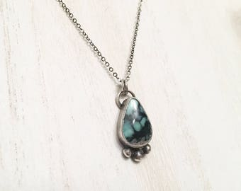 Variscite Pendant Necklace - Sterling Silver Bezel Set OOAK Aqua Green Teardrop Dot Accent Oxidized 925 Silver Gift for Her Rare Unique Gift