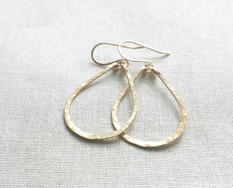 58c82451b6090 Gold Teardrop Hoops: 14k Gold Fill Hammered Artisan Small Hoop Earrings  Hammer Faceted Gift for Her Handmade Gold Fine Jewelry