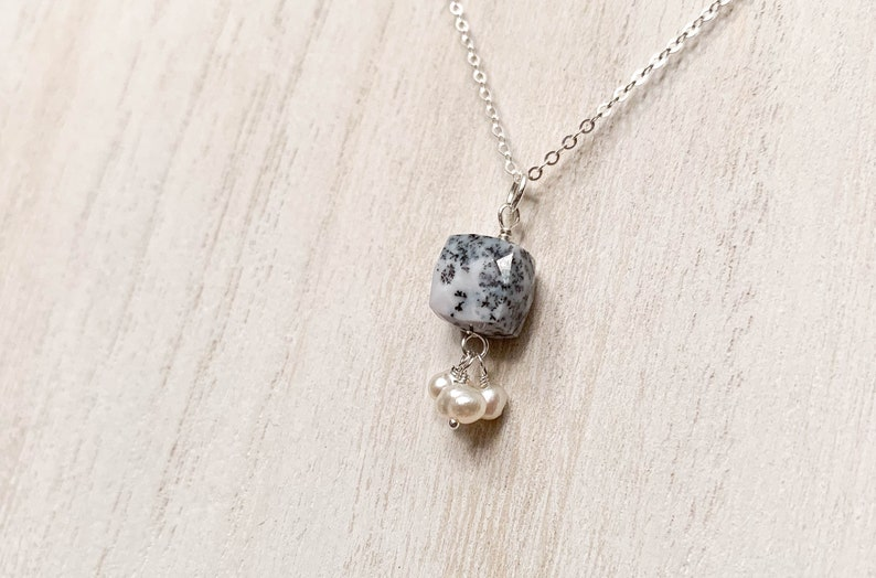 Dendritic Opal and Pearl Pendant Necklace  Black and White image 0