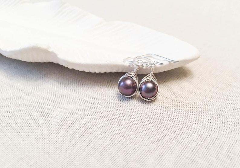 Charcoal Purple Pearl Woven Modern Drop Earrings  925 image 0