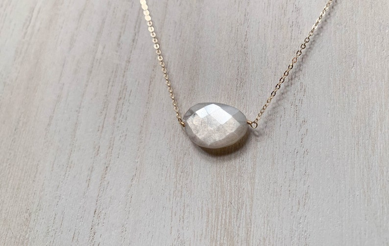 Milky Silver Moonstone Necklace  14k Yellow Gold Fill Cable image 0
