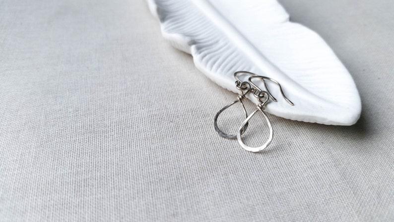 Sterling Silver Simple Teardrop Earrings  Hammered 925 image 0