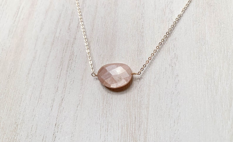 Modern Peach Moonstone Necklace  14k Yellow Gold Fill Mystic image 0