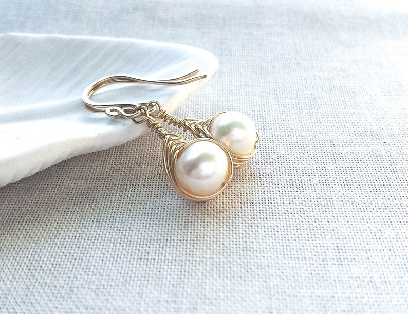 14k Gold Woven Freshwater Pearl Drops: 14k Gold Filled image 0