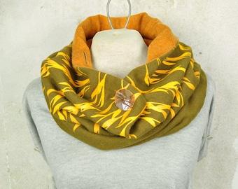 Large Scarf, Button Neck Warmer, Floral Print Loop Scarf, Vintage Fabric Cowl, Khaki / Orange, Ecofriendly multi-positions, Gender Neutral