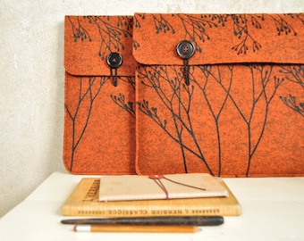 Laptop Sleeve Made to Order to fit your device - Hybrid / Tablet-PC case - Rust vegan Felt cover - custom made - screenprinted floral print
