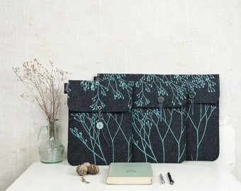 Vegan Case Made to Order, Mint Wild Plant on Grey Laptop Sleeve in Felt, Nature Lover gift, printed Notebook cover, fits your Device
