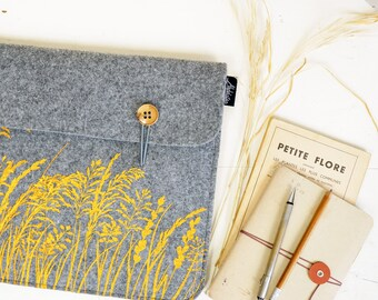 Laptop Sleeve Made to Order to fit your device - Hybrid / Tablet-PC case - Grey vegan Felt cover - custom made - screenprinted floral print