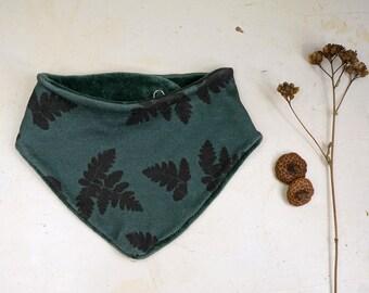 Organic Bandana Bib, Organic Baby Gift, Reversible Bibdana, Toddler Scarf, Handdrawn Fern print, Forest green Neckwarmer, eco friendly kid
