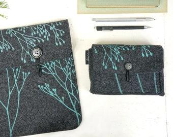 Sleeve Set Vegan, Laptop Hard-Drive Cases, Notebook + Charger Bag Set, Matching Covers, Dark Grey, Mint Floral Print, ecofriendly