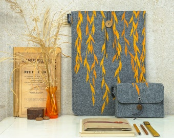 Vegan Sleeve Set, ecofriendly Case Set, Golden Willow Print, Laptop Charger Case Set, Notebook Bag, Hard-Drive Bag, Grey Printed Cover