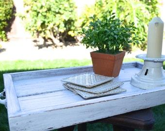Reclaimed Rustic Wood Tray Ottoman Farmhouse Style Decor / Shabby White Tray / Coffee Tray Breakfast Tray / Table Centerpiece