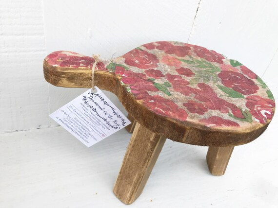 Brilliant Milking Stool Plant Stand Farmhouse Style Decorative Step Stool Rustic Home Decor Wood Stool Riser Floral And Wood Gmtry Best Dining Table And Chair Ideas Images Gmtryco