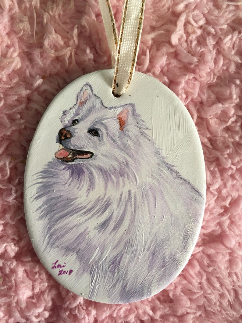 American Eskimo Dog Hand Painted Ceramic Ornament