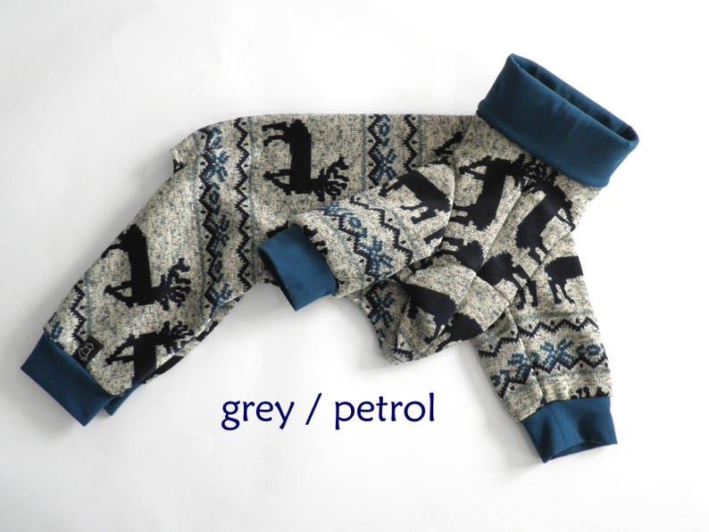 Italian Greyhound Fleece Pajamas Reindeer dog pajamas  Snowflake dog pajamas  Knitted Fleece Dog Pajamas IN STOCK