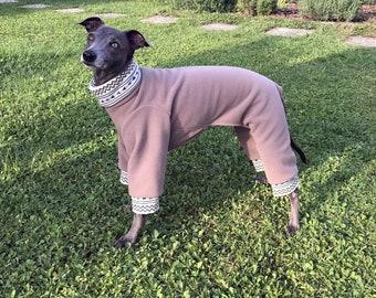 Italian Greyhound Fleece Pajamas/ Italian Greyhound Sweater / Fleece Dog Pajamas / Unicolor Dog Pajamas / Dog Outfit / Fleece Dog Clothing