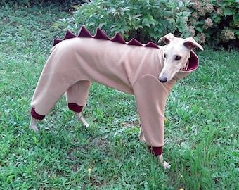 Greyhound Fleece Pajamas/ Galgo Pajamas / Dinosaur Dog Pajamas / Dino Dog Clothing / Dinosaur Dog Costume / Dog Pajamas / Dinosaur Outfit