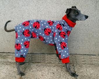 Italian Greyhound Pajamas / Italian Greyhound Outfit / Dog Pajamas / Fleece Dog Pajamas / Ladybug Pajamas / Ladybird / Winter Dog Clothing