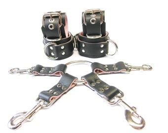 44db38f96 Soft Leather Restraints & Hogtie, BDSM Restraints, Bondage Restraints Set, Lockable  BDSM Cuffs - 1-1/4