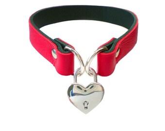 Deluxe Black Leather Collar Choker Unique Mercy Industries design Heart Padlock /& Chain fashion bondage culture  Col24