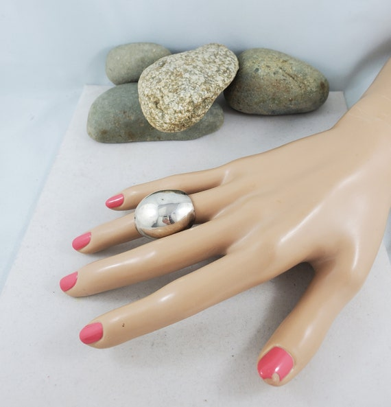 Silver Dome Ring Vintage Sterling Silver Chunky Dome Ring Size 6