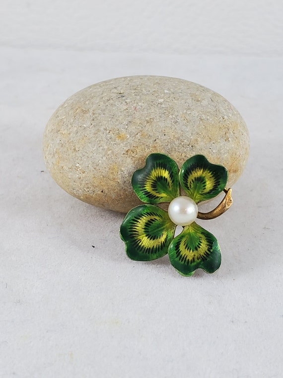 Gold Enamel Pin Antique 14 Kt Gold Four Leaf Clove