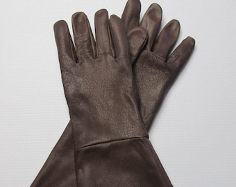 Dark Brown Deerskin Leather Long Cuff Gauntlet Gloves - Made in the USA