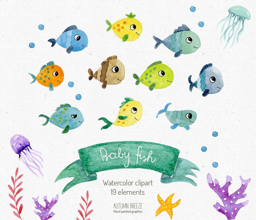 Aquarell Fisch Clipart Aquarell Clipart   Etsy