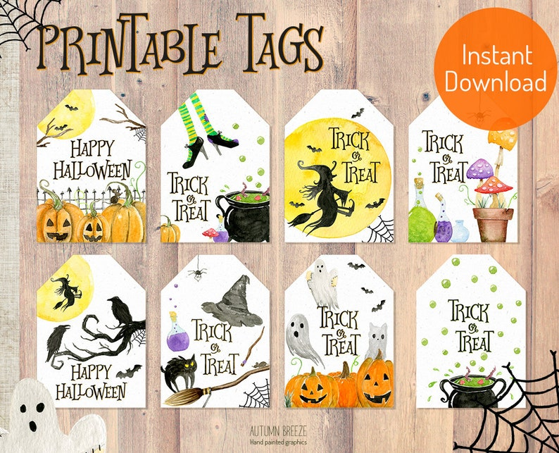 photograph regarding Halloween Gift Tags Printable identify Halloween choose tags printable, halloween occasion, reward tags, halloween printable , trick or deal with, pumpkin, spooky, instantaneous down load