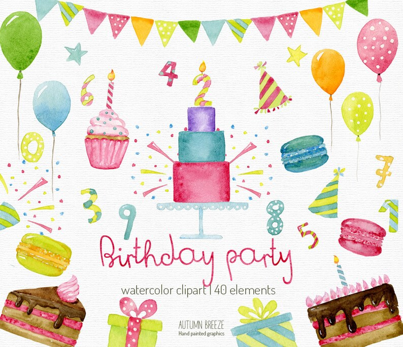Watercolor Birthday Clipart Anniversary Party Cake Invitation