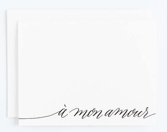 À mon amour - Letterpress Calligraphy Greeting Card