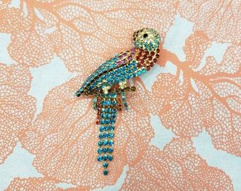 Vintage 1980s Large Dorothy Bauer Rhinestone Macaw Parrot Brooch  Novelty Animal Bird Brooch