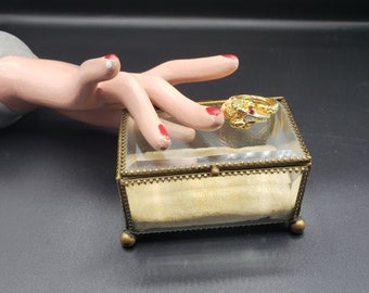 FREE SHIPPING Heavy Crystal Hinged Lid Casket Box with Brass Band Bonnet Style Lid Ribbed Lid /& Sides