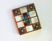 1950s rhinestone and mother of pearl MOP vintage COMPACT pastel rhinestone encrusted mother of pearl gold tone vintage compact with mirror
